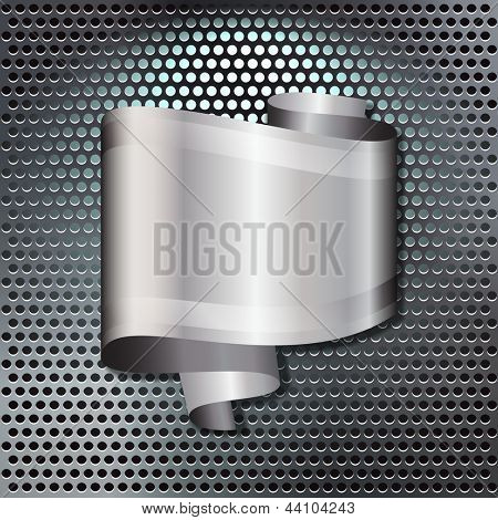 A speech bubble in the form of a scroll of silver ribbon, with space for your text, over a back-lit metal grille. Also available in vector format.
