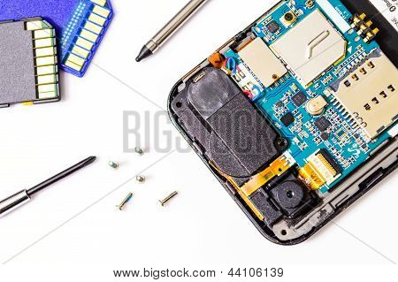 Smartphone Reparatur Isolated On White Background.