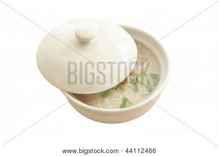Congee bowl and cover on white background.