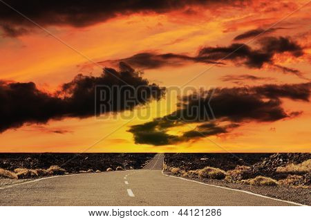 Road At The Sunset.
