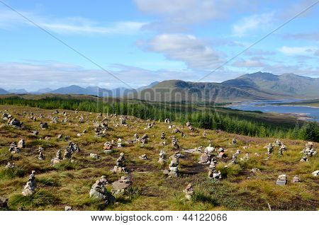 Stone cairns at Loch Loyne