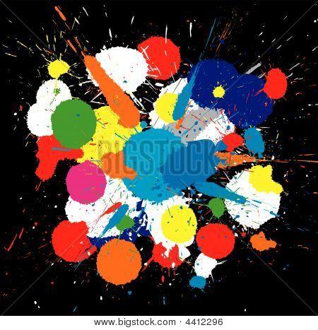 Color Paint Splashes. Vector Background