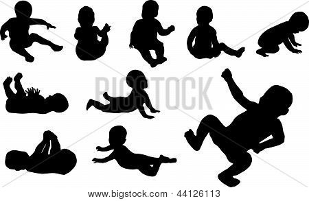 Baby Black Vextor Silhouette