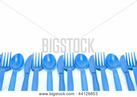 blue plastic utensils