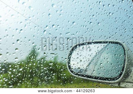 Water drops on a car window