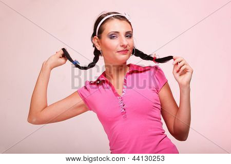 Picture Of Surprised Woman Hair In Pigtail