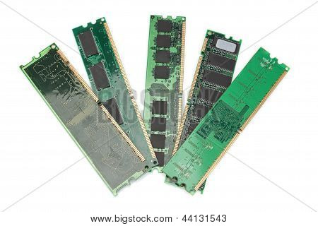 Details Of The Computer Memory Ram Of The Old Generation. On A White Background.