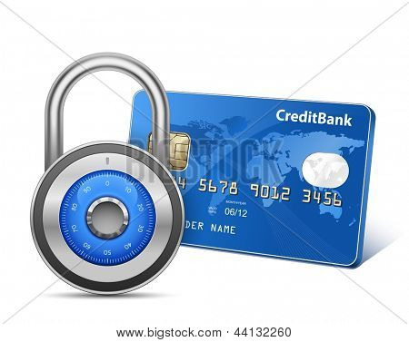 Secure Payment. Credit card and padlock. Vector illustration