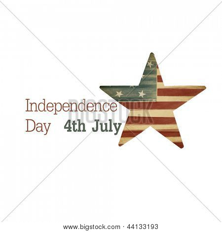 Independence day. Composition from text and star symbol. Raster illustration