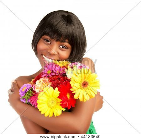 Beautiful african woman with fresh colorful flowers isolated on white background, romantic holiday, love concept