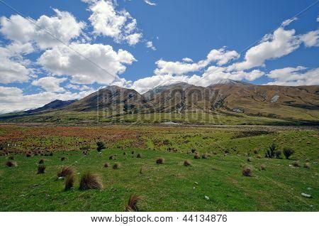 Pastizales en un remoto valle de la montaña