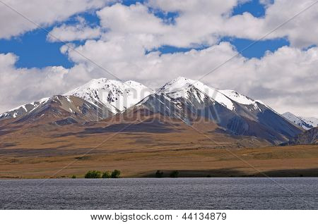 Snowy Peaks Above An Alpine Plain