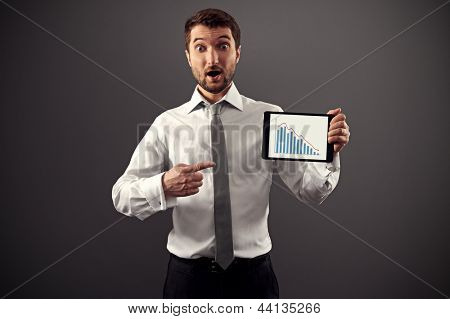 shocked man pointing at business graph