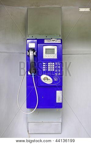 Blue Public Phone