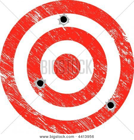 Vector Grunge Target With Bullet Holes