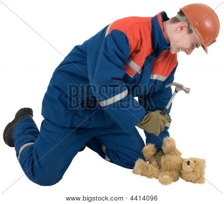 Man With Hammer And Toy Bear