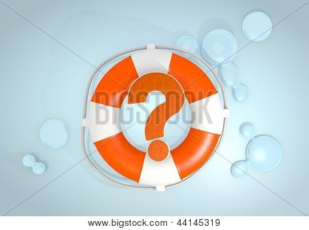 3d render of a unclear question icon rescued by a lifesafer