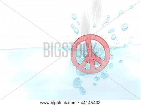 3d graphic of a drowing peace symbol fallen into water