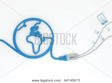 I love you symbol with network cable and world symbol