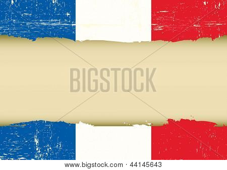 French scratched flag. A french flag with a large frame for your message