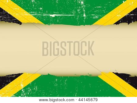 Jamaican scratched flag. A Jamaican flag with a large frame for your message