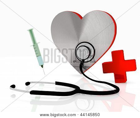 heart symbol with stethoscope and injection