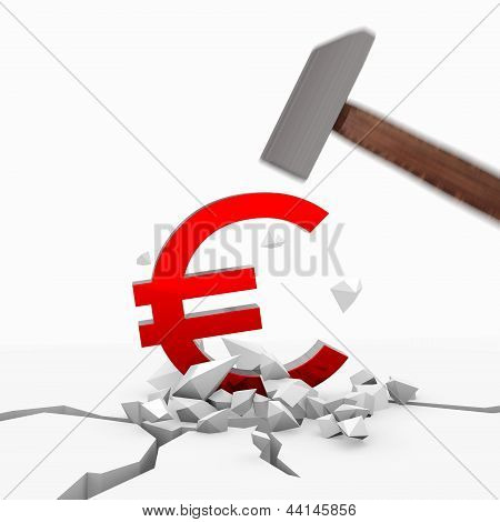 Illustration of a powerful Euro icon smashed with a hammer