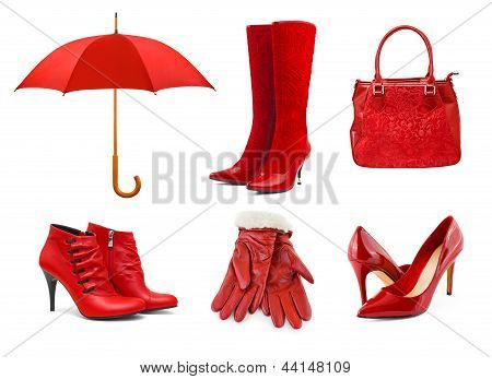 Set Of Red Clothing And Accessories