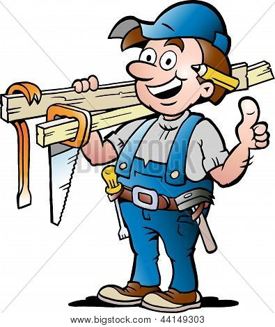 Hand-drawn Vector Illustration Of An Happy Carpenter Handyman