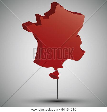 map of France in form of a balloon