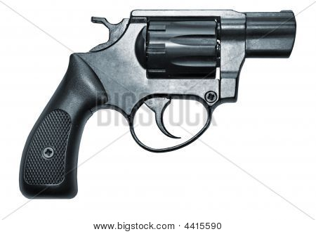 Isolated Black Firearm Revolver