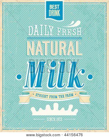 Vintage Milk card. Vector illustration.