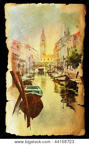 A View Of The Canal With Boats And Buildings In Venice, Painted By Watercolor