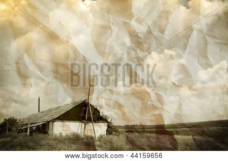 Aged Crumpled Photo of Old Lonely House in the Empty Field