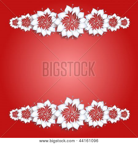 White flowers on red background