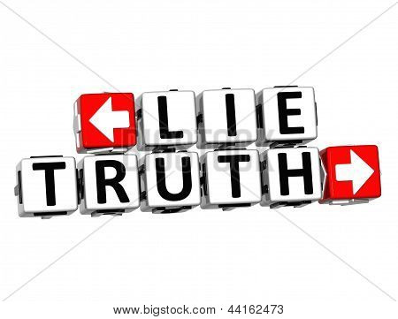 3D Lie Truth Button Click Here Block Text