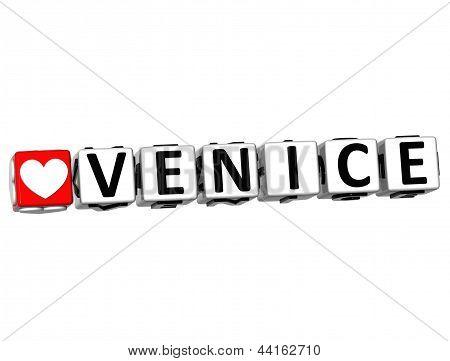 3D Love Venice Button Click Here Block Text
