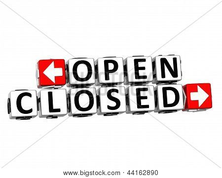 3D Open Closed Button Click Here Block Text