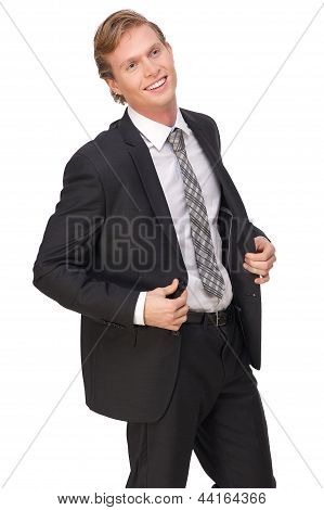 Young Businessman Smiling In Black Suit