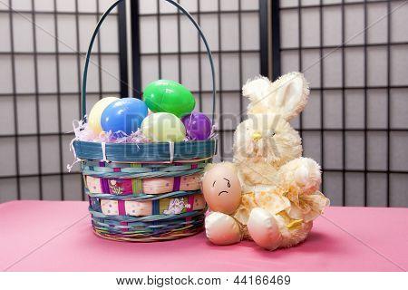 Sad Egg On Bunny's Lap.