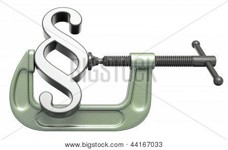 Paragraph symbol squeezed in a clamp