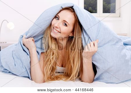 Cute Blonde Woman In The Morning