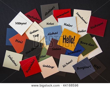 Hello, Bonjour, Nichiwa! Hello In Different Languages - Sign / Poster for Business or PR.
