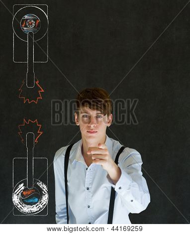 North Or South Korea Needs You Pointing Man On Blackboard Army Tanks Background
