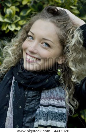Portrait Of Young Attractive Blond Smiling Girl