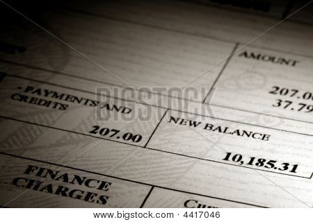 High Credit Card Debt Balance On A Statement