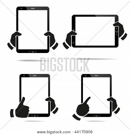Hands holding a tablet with isolated screen
