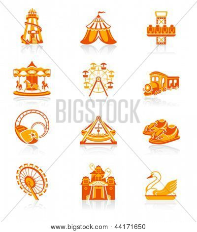 Freizeitpark oder Kirmes Attraktion rot-Orange Icon-set