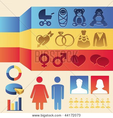 Vector Infographics  Elements - Man And Woman