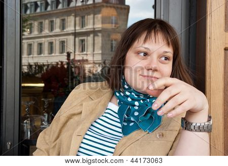 Girl In Street Cafe In Paris